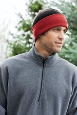 CP90 Cuffed knit cap in red and black