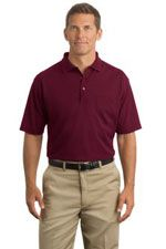 CS403P Men's industrial strength pique pocket polo in burgundy
