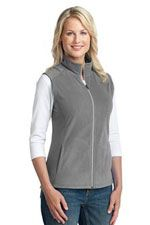 Pearl grey microfleece vest for women