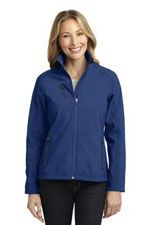 L324 Ladies welded soft shell jacket in blue