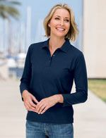 L500LS Ladies long sleeve polo in navy