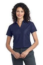 L512 Ladies vertical pique polo in navy