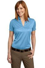 L528 Ladies fine jacquard polo in light blue