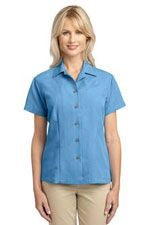 L536 Ladies patterened easy care camp shirt in blue