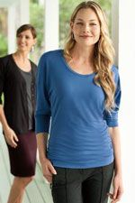 Ladies concept scoop neck with three quarter length sleeves