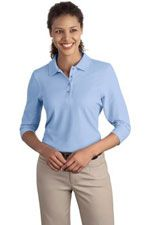 L562 Ladies Silk Touch  polo in light blue