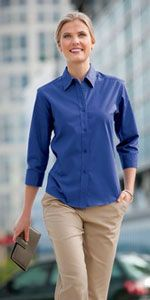 Ladies 3/4 sleeve button down shirt in Mediterranean blue