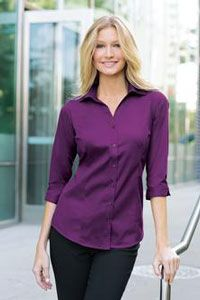 L6290 Ladies three quarter sleeve blouse in berry