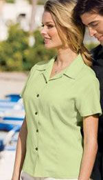 L535 Ladies easy-care camp shirt in celery