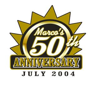 Marco's 50th Anniversary screen printed logo