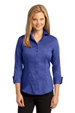 RH69 Ladies 3/4 sleeve buttton down shirt in blue