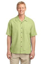 S536 Men's patterened easy care camp shirt in celery