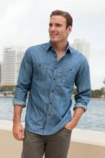 S652 Men's double pocket denim shirt