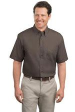 TLS508 Men's tall short sleeve easy care button down shirt in brown