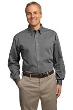 TLS613 Men's tall tonal easy care shirt in grey